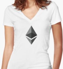 Ethereum Gray Diamond | Spread the Ether - ETH love Women's Fitted V-Neck T-Shirt