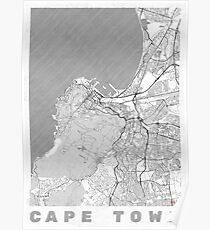 Cape Town Map Line Poster