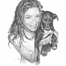 girl and her puppy by Mike Theuer