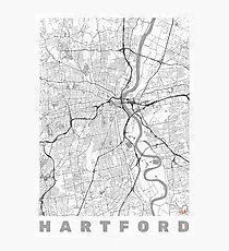 Hartford Map Line Photographic Print