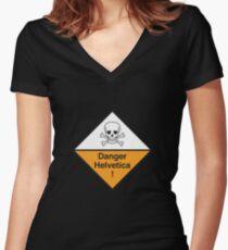 Danger Helvetica! Women's Fitted V-Neck T-Shirt