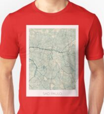 Sao Paulo Map Blue Vintage T-Shirt
