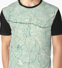 Sao Paulo Map Blue Vintage Graphic T-Shirt