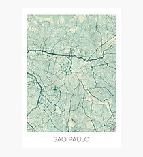 Sao Paulo Map Blue Vintage Photographic Print