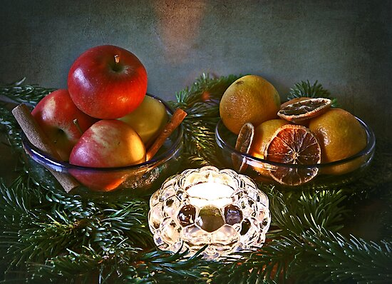 Christmas time,  candle, fir branches, spices and fruits by gameover