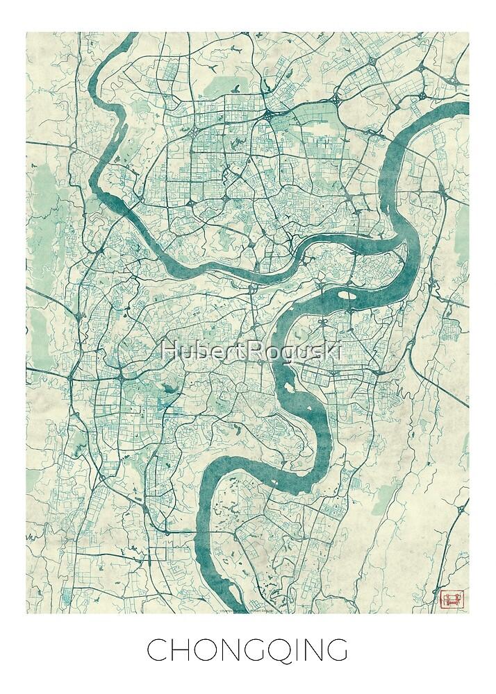 Chongqing Map Blue Vintage by HubertRoguski