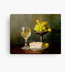 Gourmet snack, cheese grapes and white wine Canvas Print