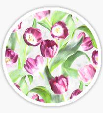Bright Tulips on Soft Grey  Sticker