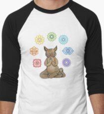 Yoga Cat with Chakras Camiseta ¾ bicolor para hombre