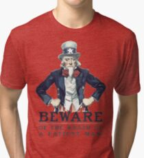 Beware Of The Wrath Of A Patient Man Uncle Sam Tri-blend T-Shirt