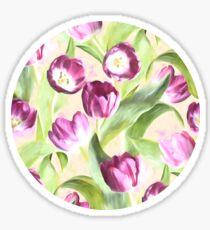 Deep Magenta Tulips on Creamy Peach Sticker