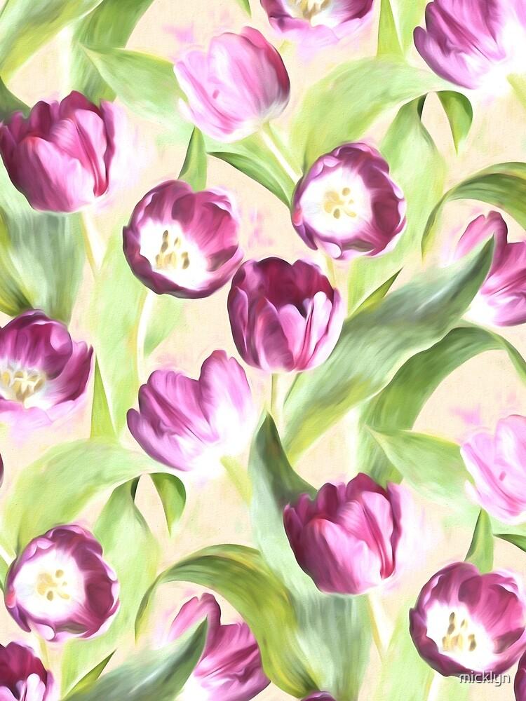 Deep Magenta Tulips on Creamy Peach by micklyn