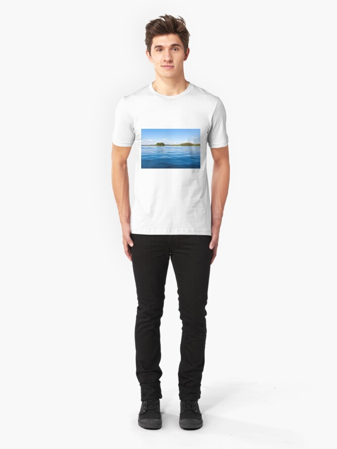 Alternate view of Finland lake scape at summer Slim Fit T-Shirt