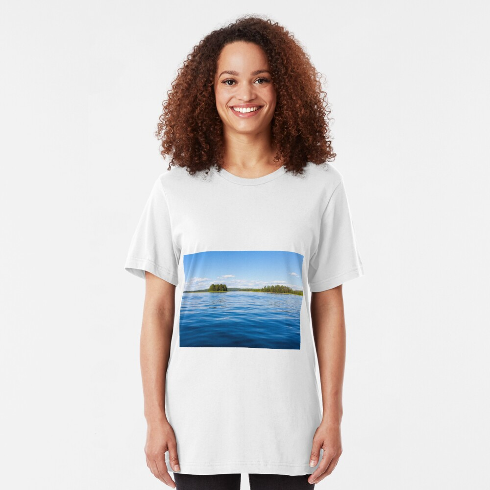 Finland lake scape at summer Slim Fit T-Shirt