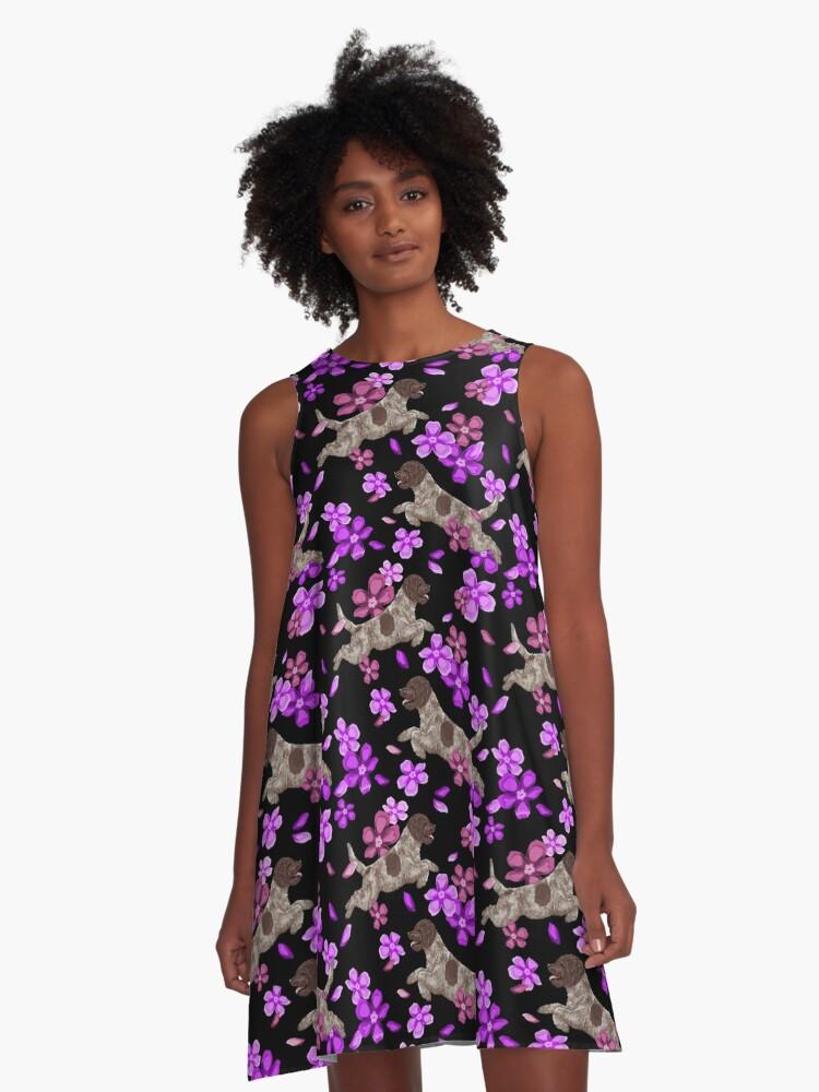 Lagotto Romagnolo Flowers Multi A-Line Dress Front