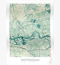 Rotterdam Map Blue Vintage Poster