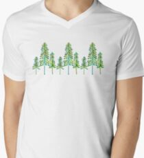Pine Trees – Green Palette V-Neck T-Shirt