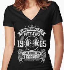 Born In 1965 - life begins at Fifty two Women's Fitted V-Neck T-Shirt
