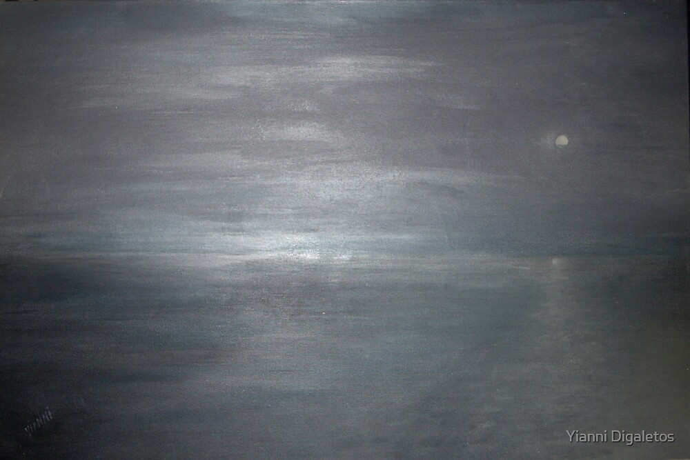 Silver Moon at Sandy Hook  by Yianni Digaletos