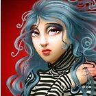 Blue Hair Black Stripes by abigull