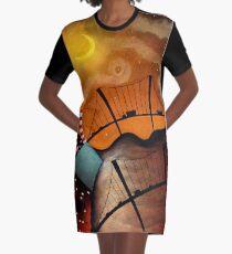 Cityscape at Night Graphic T-Shirt Dress