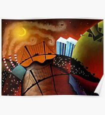 Cityscape at Night Poster