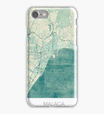 Malaga Map Blue Vintage iPhone Case/Skin