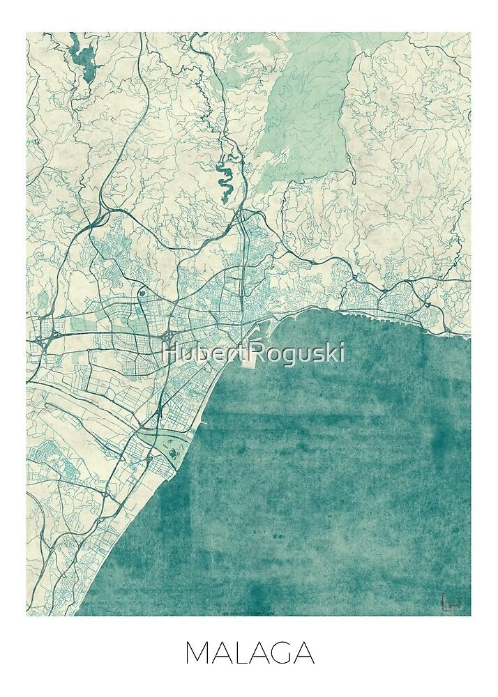 Malaga Map Blue Vintage by HubertRoguski