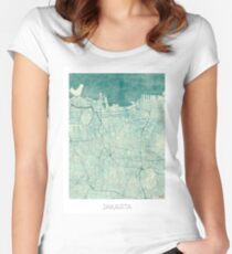 Jakarta Map Blue Vintage Women's Fitted Scoop T-Shirt