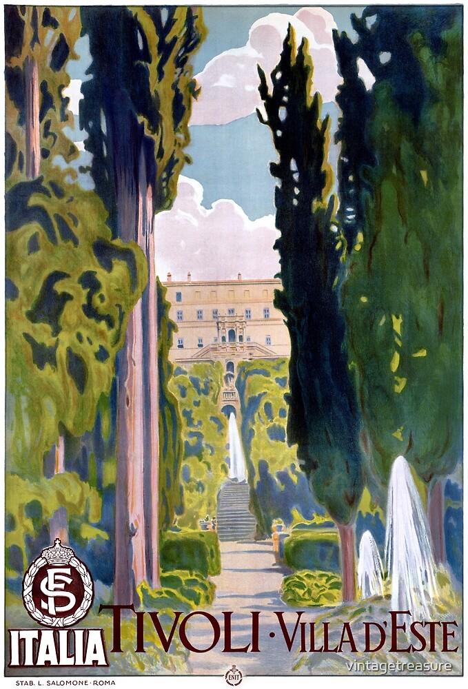 Italy Tivoli Vintage Travel Poster Restored by vintagetreasure