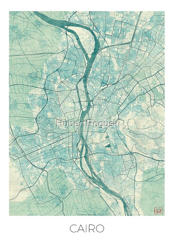 Cairo Map Blue Vintage by HubertRoguski