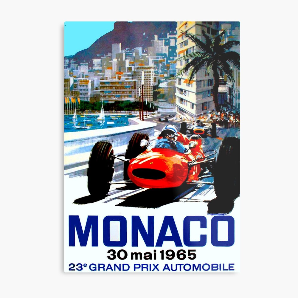 """""""MONACO GRAND PRIX"""" Vintage Auto Racing Print Metallbild"""