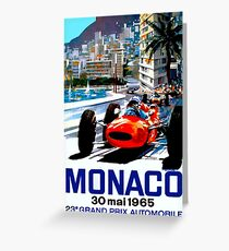 """MONACO GRAND PRIX"" Vintage Auto Racing Print Greeting Card"