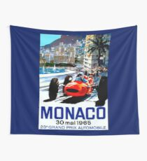 """MONACO GRAND PRIX"" Vintage Auto Racing Print Wall Tapestry"