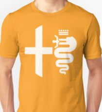 Alfa Romeo biscione/cross (white) Unisex T-Shirt