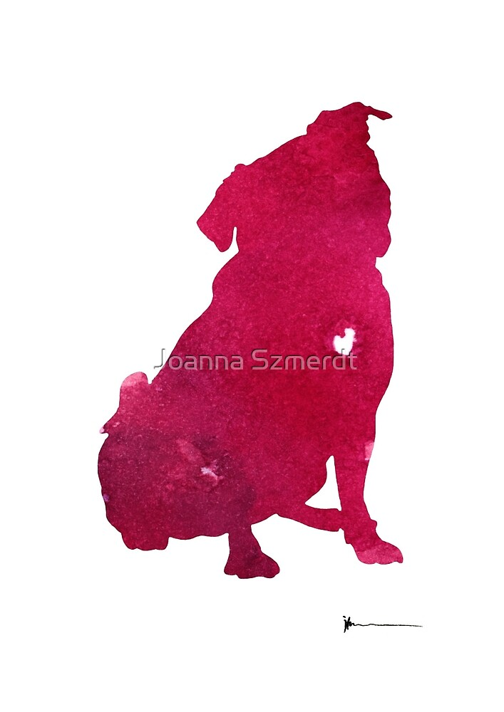 Pink pug dog art print watercolor painting by Joanna Szmerdt
