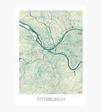Pittsburgh Map Blue Vintage Photographic Print