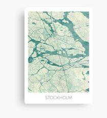 Stockholm Karte Blau Vintage Metallbild