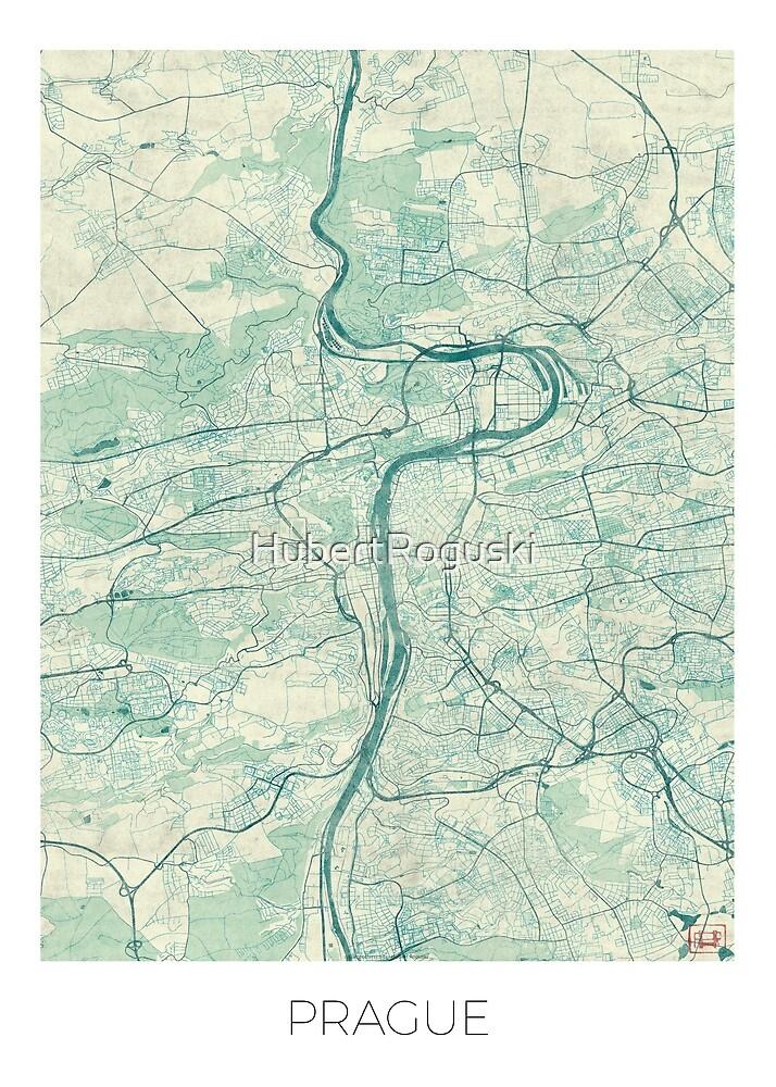 Prague Map Blue Vintage by HubertRoguski