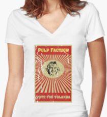 Pulp Faction - Yolanda Women's Fitted V-Neck T-Shirt