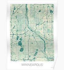Minneapolis Map Blue Vintage Poster