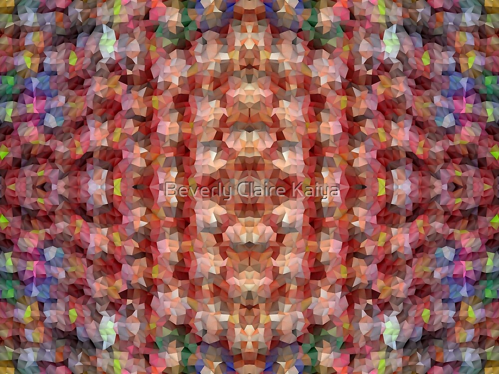 Abstract Mosaic in Red Rainbow by Beverly Claire Kaiya
