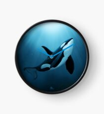 """""""The Dreamer"""" by Amber Marine ~ (Copyright 2015) orca art / killer whale digital painting Clock"""
