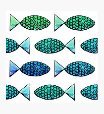 Watercolor Fishy Pattern Photographic Print