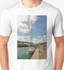 Yacht and Boats Alongside Newlyn Pier Unisex T-Shirt