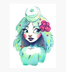 Green Moon Girl Photographic Print