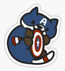 Cat-ain America Shield Cuddles Sticker
