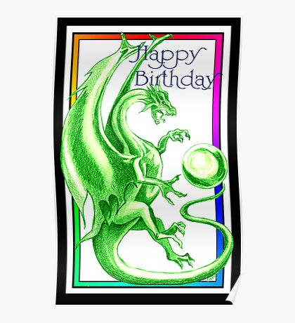 Dragon Happy Birthday Card Poster