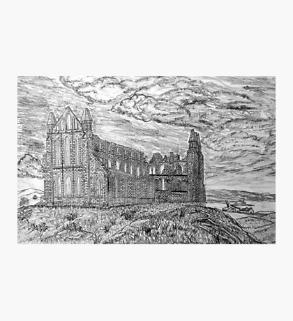 My pencil drawing of Whitby Abbey, Yorkshire Photographic Print