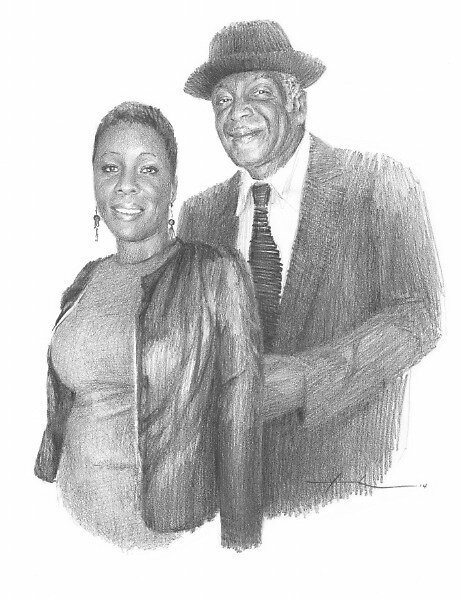 Granddaughter and departed grandfather drawing by Mike Theuer